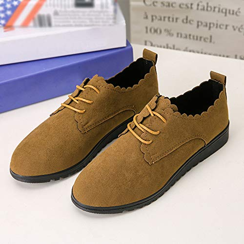 Women Booties Boots Soft Booties Women Shoes Lace Single Shoes Bluestercool Solid Bottomed Leather Flat Brown Lightweight Boots Ankle Shoes Suede Flat Soft Up rqwrAx0H