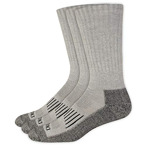 Dickies Men's 3 Pack Heavyweight Cushion Compression Work Crew Socks, Grey, Shoe Size: 6-12 Size: 10-13 - Heavy Cushion Sock