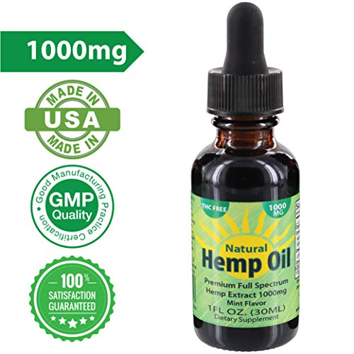 Organic Hemp Seed Oil 1000mg of Extract Reduces Pain, Anxiety, Stress and Promotes Restfull Sleep 30ml by Sun Carolina