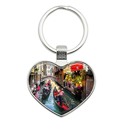 Venice Italy Gondolas Canals Heart Love Metal Keychain Key Chain Ring