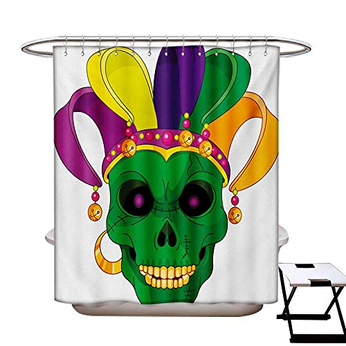 BlountDecor Mardi Gras Shower Curtains Fabric Extra Long Scary Looking Green Skull Mask with Carnival Hat Beads and Earring Cartoon Style Bathroom Set with Hooks W72 x L96 Multicolor (Anderson Set Earrings)