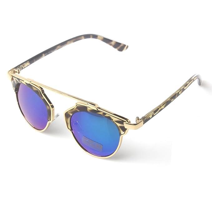 Accessoryo - braun Leopardenmuster Sonnenbrille mit Gold hohe Stirn Detail & Regenbogen revo Linsen ivBgwfzGs4