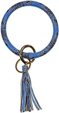 ONine Wristlet Keychain Bracelet Bangle Keyring, Leather Tassel Key Ring Bracelet Holder For Women Girl