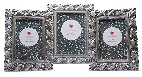 Vintage Antique Ornate Silver Finish Picture Frames ~ Set of 3 Frames - Two for 4 x 6 and One for a 5x7 Inch Photo~ Perfect for Wedding Vacation Graduation Or Any Milestone Photo ()