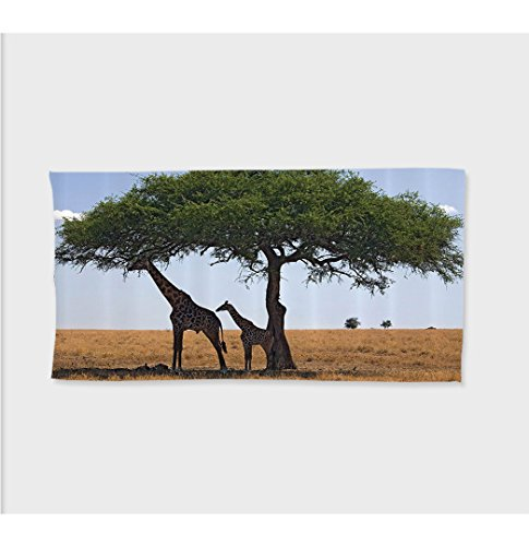 Tallest Trees Ever - Sophie 27.5W x 11.8L Inches Custom Cotton Microfiber Ultra Soft Hand Towel Safari Decor Collection Ba and Mom Giraffe under the Tree the Tallest Animal Mammal in Savannahs Nature Photo Extra Long Mult