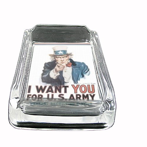 (Glass Square Ashtray Uncle Sam Recruiting Poster Whiskey D-302)