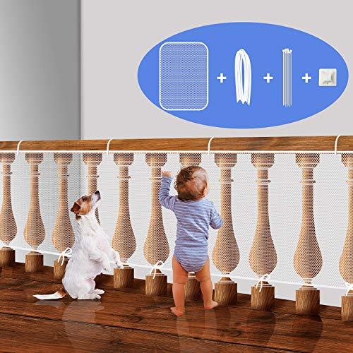 Stair Rail Net for Baby Safety, Balcony Guard for Child Proofing, Banister Guard Mesh for Pets Indoor (White, L5xW3 Ft)