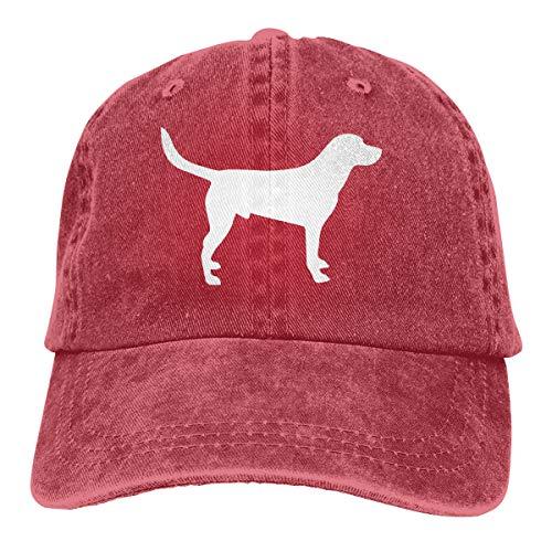 Women Men Adjustable Baseball Cap Labrador Silhouette Sports Hat Red ()