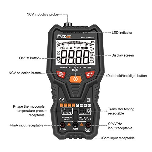 Multimerter, DM06 TRMS 6000 Counts Tester Auto-Ranging Electronic Amp Volt Ohm Voltage Meter Multimeter with Frequency, Temperature, Transistor, Continuity Test Tester by TACKLIFE (Image #1)