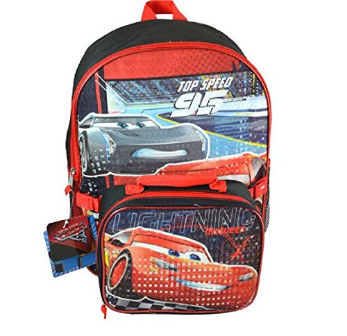 "Price comparison product image Disney Pixar Cars 3 16"" Backpack with Lunch KitPrism Printing"