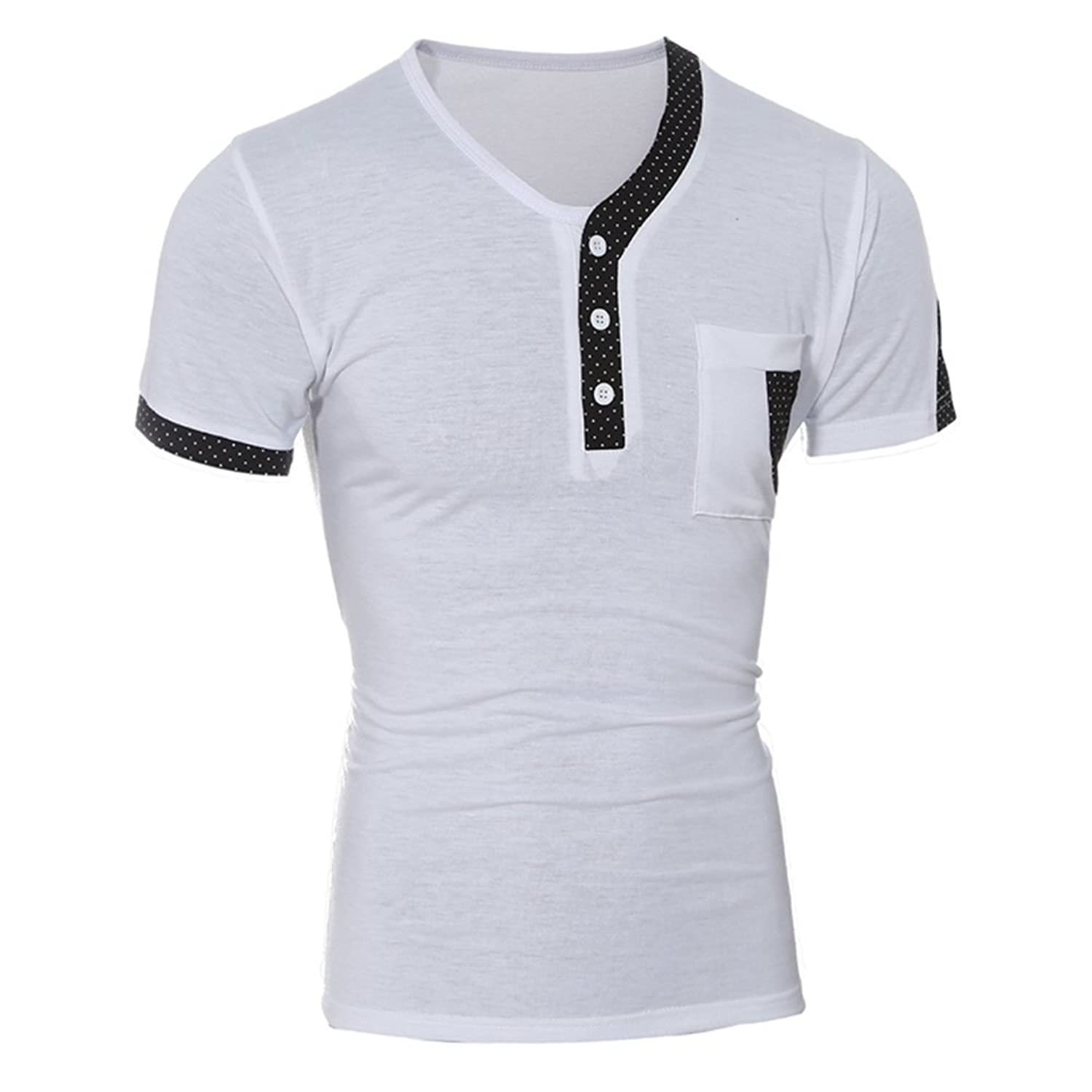 Aiyino Mens Henley T-shirts With Short Sleeve Slim Fit Button Placket
