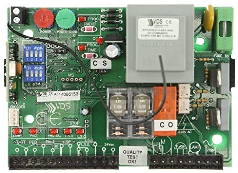 VDS Euro M1 Central de maniobras universal cuadro de control para motores monofásicos a 220v hasta 550w de puerta corredera de garaje y parking, central sustitución VDS Simply 600 y Geko 400: