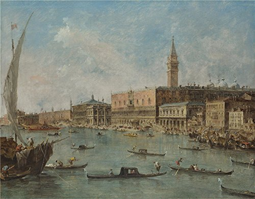 Oil Painting 'Francesco Guardi - Venice - The Doge's Palace And The Molo,about 1770' 16 x 20 inch / 41 x 52 cm , on High Definition HD canvas prints, (Halloween Web Eyeliner)