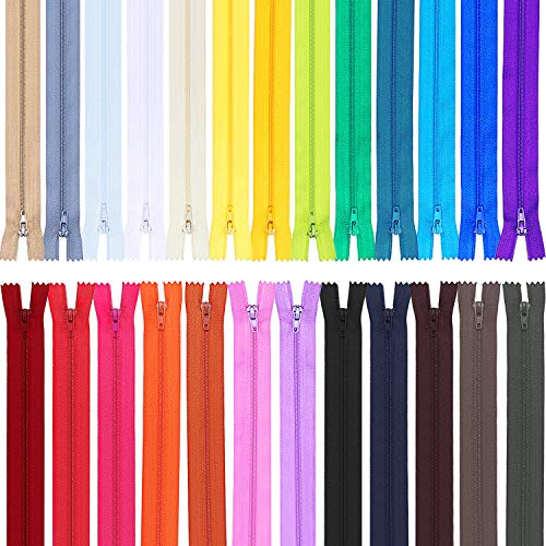 Frienda 50 Pieces Nylon Coil Zippers for Tailor Sewing Crafts 25 Colors Nylon Zippers 20 Inch