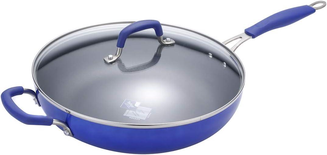 Momscook Saute Pan 12-Inch Classic Brights Hard Enamel Aluminum Nonstick Covered Skillet, Dishwasher Safe Sautepan, Blue