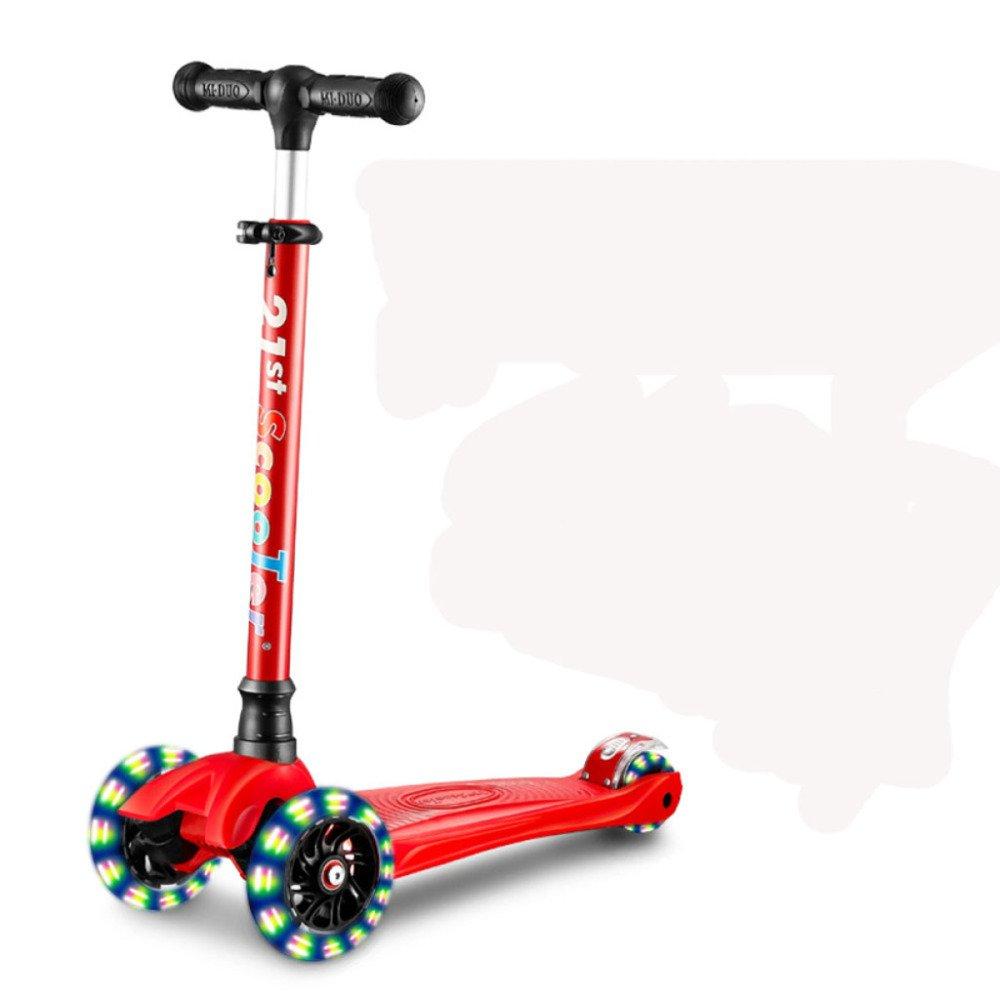 Upgraderouge  QXMEI Scooter 3 Roues Réglable Taille Flash PU Roues Scooter Enfant Pliable 3 à 17 Ans