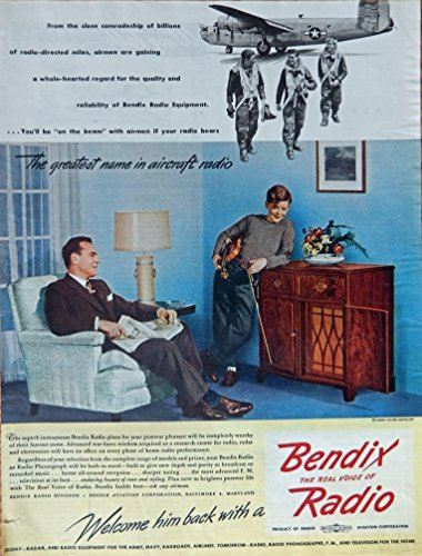 Bendix Radio, 40's Print ad. full page Color Illustration (father and son/aircraft radio) original Vintage 1945 Collier's Magazine Print Art