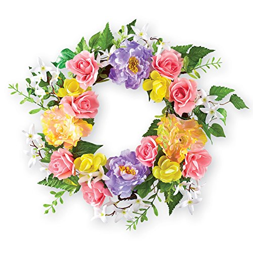 Colorful Rose and Peony Rattan Wreath (Rose Peony Wreath)