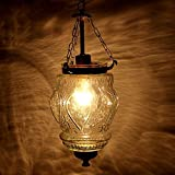 IndianShelf Handmade Decorative Vintage Clear Hanging Glass Light Fixture Small Celling Lamp Chandelier