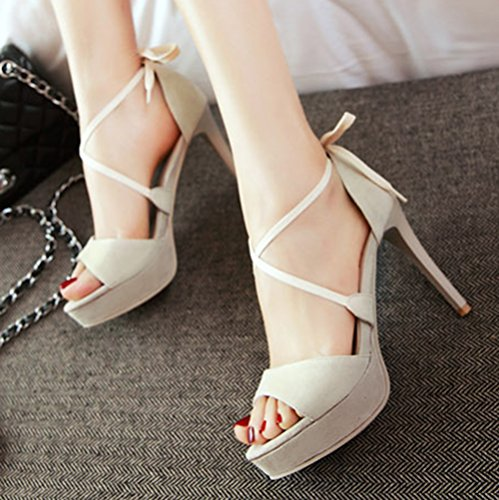 Stiletto Womens Platform Beige Dressy Toe Sandals Tie Wrap Ankle Open Shoes Heels High Elegant Aisun Self XUqnxHSgx