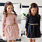 rackerose Baby Princess Girls Lace Polka Dot Long Sleeve Party Gown Formal Dress with Belt(Pink,34 Years)
