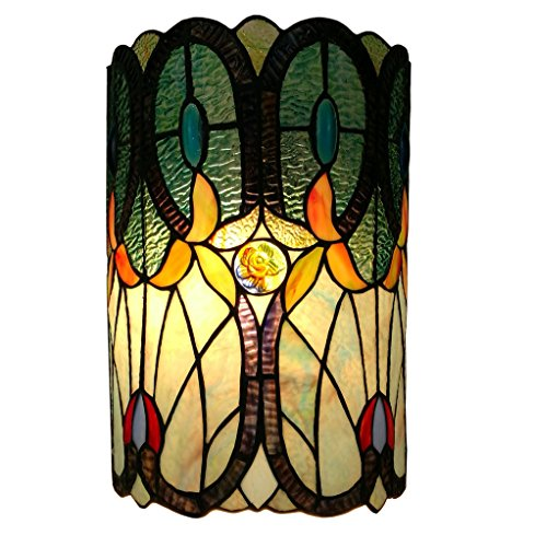 Amora Lighting AM247WL10 Tiffany Style Double-Light Floral Wall Sconce 13.5 in ()