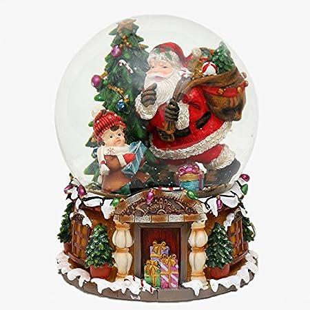 Bella palla di vetro con neve et scatola musicale, Disegno: Babbo Natale, circa 20 x 16 cm/ Ø 15 cm Dekohelden24