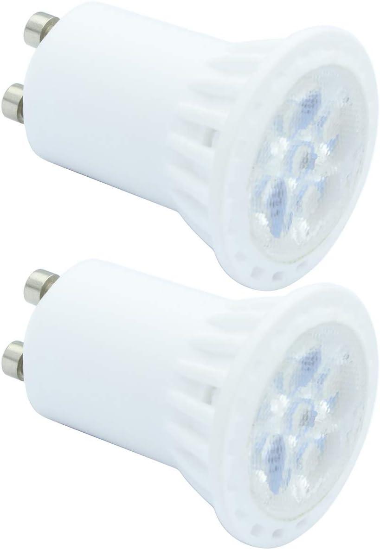 2 PACK AC 220V 4W GU10 Bombilla LED Equivalente 40W Halógeno, 120°de Haz Blanco Frío 6000K 400LM Para Empotrado, Iluminación de Riel [Clase de eficiencia energética A+++]
