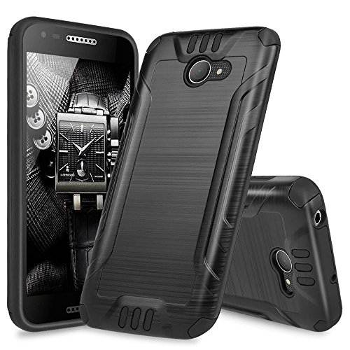 Alcatel A30 Case, Alcatel Kora Case, Alcatel Zip LTE Case, TJS Dual Layer Hybrid Shockproof Impact Resist Rugged Drop Protection Case Cover Metallic Brush Finish with Hard Inner Layer (Black)