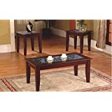 3-Piece Fax Marble Top Cherry Coffee Table and End Table Set