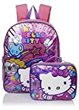Hello Kitty Girls' Stars and Clouds 15 Inch Backpack with Lunch Kit, Pink/Purple