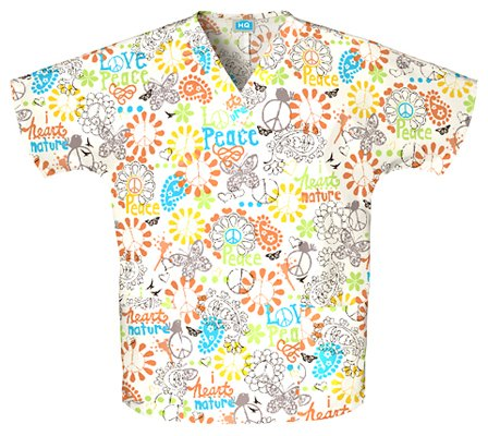 WorkWear 4700 Women's V-Neck 2-Pocket Scrub Top Peace, Love and Paisley X-Small