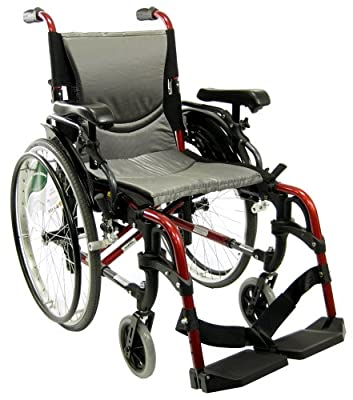"Karman S-ERGO 305 Lightweight Ergonomic Wheelchair S-Ergo305Q16SS, 29 lbs., Quick Release Wheels, Frame Rose Red, Seat Size 16""W X 17""D, Factory Adjustable Seat Height (Default 19"" Floor To Seat)"
