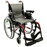 Karman Healthcare S-305 Ergonomic Ultra Lightweight Manual Wheelchair, Rose Red, 18-Inch Seat Width