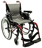 "Karman S-ERGO 305 Lightweight Ergonomic Wheelchair S-ERGO305Q16RS, 29 lbs., Quick Release Wheels, Frame Rose Red, Seat Size 16""W X 17""D, Factory Adjustable Seat Height (Default 19"" Floor To Seat)"
