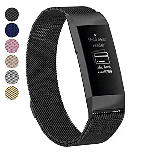 Tersely for Fitbit Charge 3 Band Strap, Luxury Metal Stainless Steel Magnetic Milanese Adjustable Replacement Bands Fitness Sport Strap for Fitbit Charge 3 Wristbands - Small Black