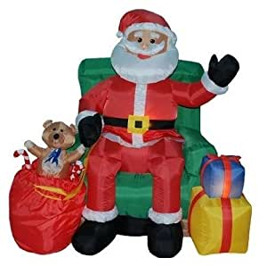 4 Foot Animated Christmas Inflatable Santa Claus in Green Chair Yard Decoration