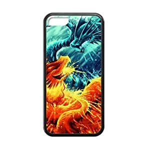 Generic Fire and Ice Dragon Special Design Custom Cases For IPhone 5C TPU (Laser Technology)