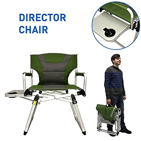Directors Chair – Camping Chair – Folding Sports Chair with Side Table and Carry Handle – Green with Gray - Deluxe Aluminum Trim
