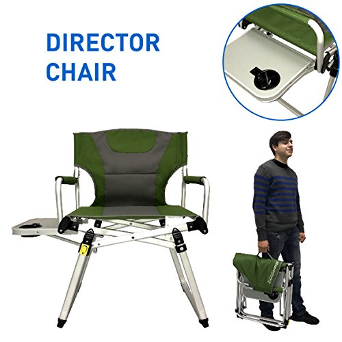 Directors Chair – Camping Chair – Folding Sports Chair with Side Table and Carry Handle – Green with Gray (Newport Wood High Chair)