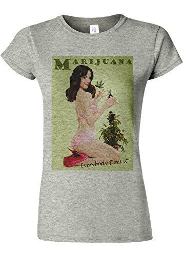 ハグ格納分子Marijiana Girl Everybody Does It Novelty Sports Grey Women T Shirt Top-S