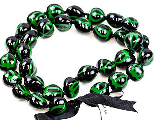 Barbra Collection Hawaiian Style Kukui Nut Lei Hand Painted Green Turtle 32 Inches