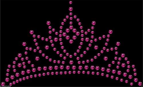 Iron-On Hot Pink Tiara Crown Rhinestone Diamante Transfer Hotfix Crystal Motif (Crown Applique)