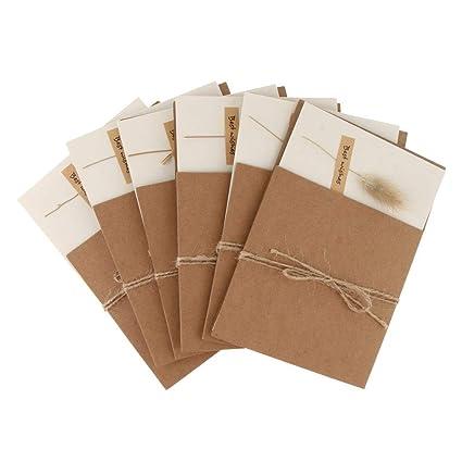 Amazon.com: 6 tarjetas de felicitación de papel kraft con ...