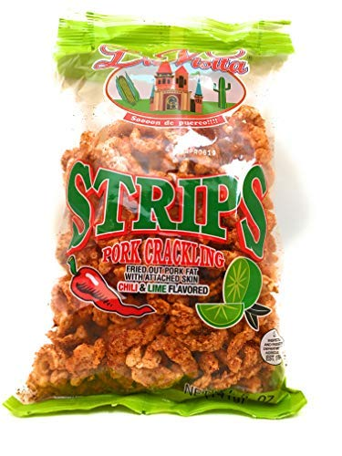 La Visita Pork Crackling Strips with Chile & Lime Authentic USDA Keto Snack with Zero Carbs and Zero Trans Fat per Serving, 5 oz. bag (3 pack)