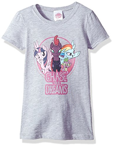 My Little Pony Big Girls' Movie Chase Your Dreams Short Sleeve Tee, Heather Gray, L