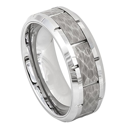Men's 8mm Beveled Knotched Edge Wedding Band, Hammered Finish Multi Grooved Center High Polished Comfort Fit Tungsten Carbide Anniversary Ring - Edge Mens Diamond Band