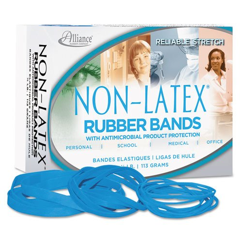 Alliance Rubber 42549  #54 Assorted Non-Latex Antimicrobial Rubber Bands, 1/4 lb box contains #19, #33, #64 elastics (3 1/2 x 1/16, 3 1/2 x 1/8, 3 1/2 x 1/8, Cyan Blue)
