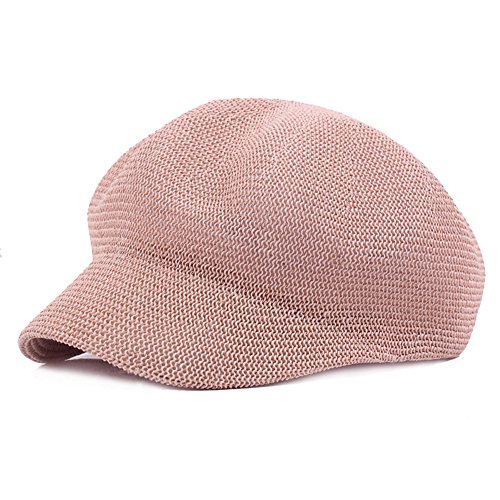 Fasbys Women Breathable Mesh Summer Hat Newsboy Beret Ivy Cap Cabbie Flat Cap (Pink) by Fasbys