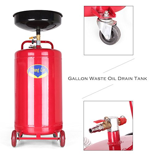 Swivel Caster High Temperature Wheel - Timmart 20 Gallon Portable Waste Oil Drain Tank Pan Air Operated